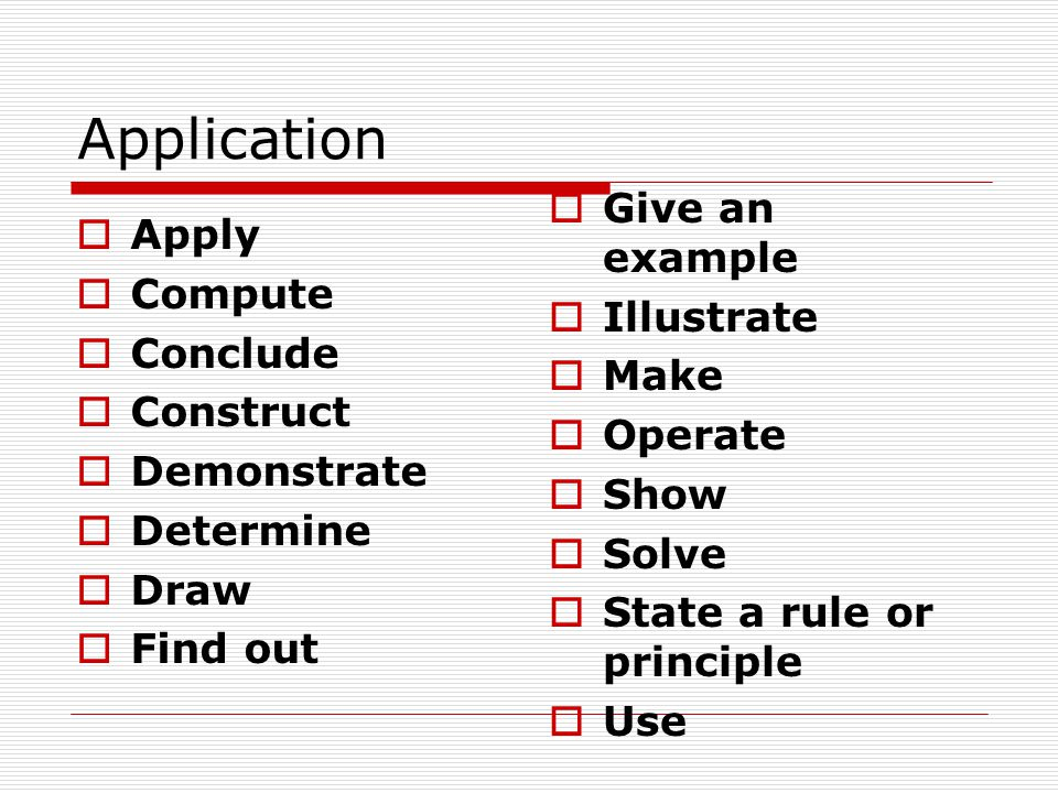 Application Apply Compute Conclude Construct Demonstrate Determine Draw Find out Give an example Illustrate Make Operate Show Solve State a rule or pr