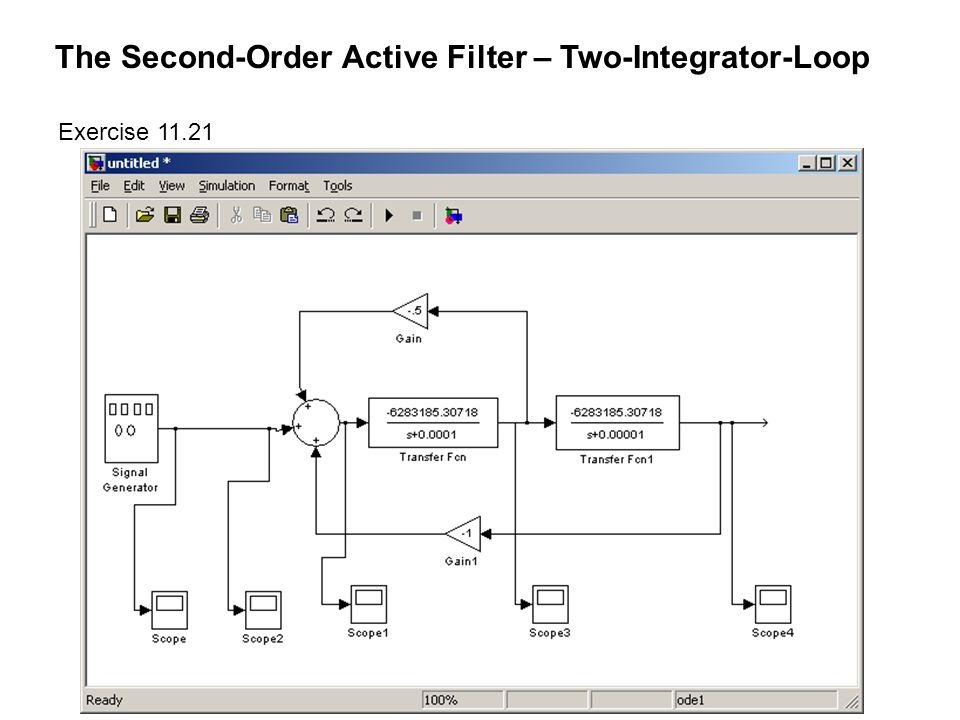 The Second-Order Active Filter – Two-Integrator-Loop Exercise 11.21