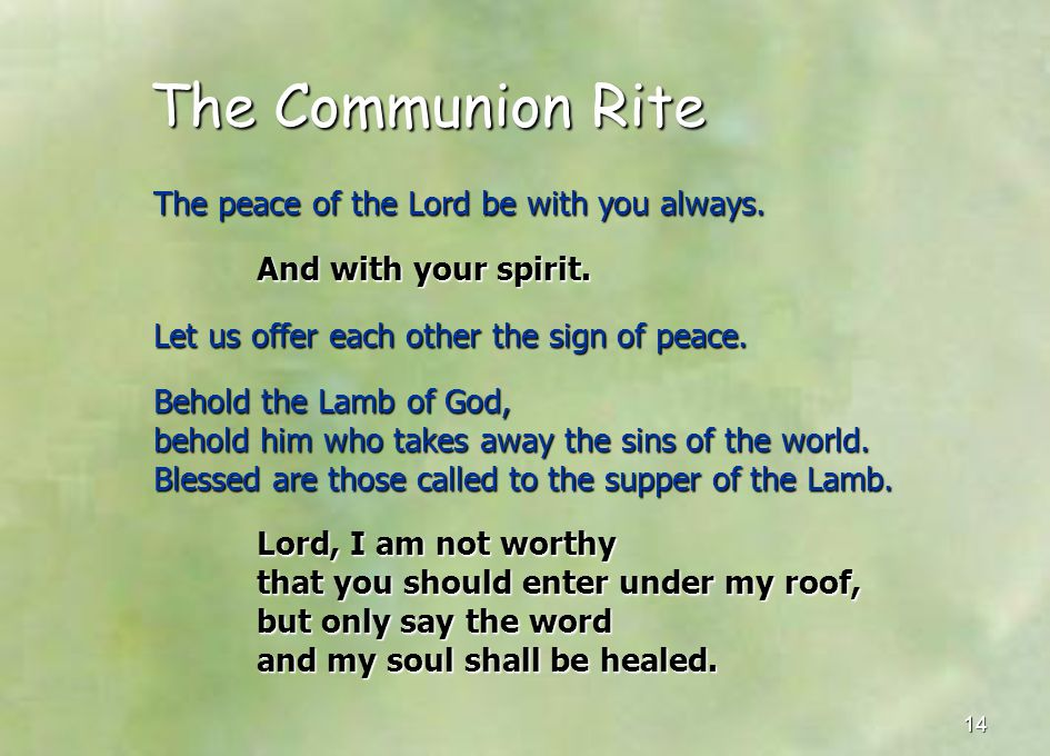 14 The Communion Rite The peace of the Lord be with you always. And with your spirit. Let us offer each other the sign of peace. Behold the Lamb of Go