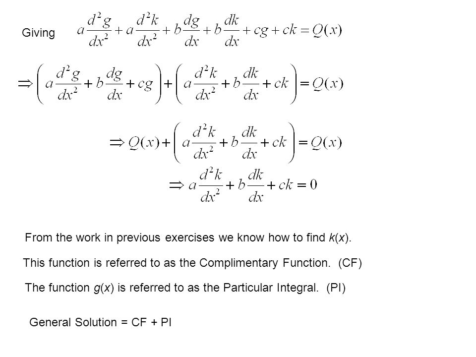Giving From the work in previous exercises we know how to find k(x). This function is referred to as the Complimentary Function. (CF) The function g(x
