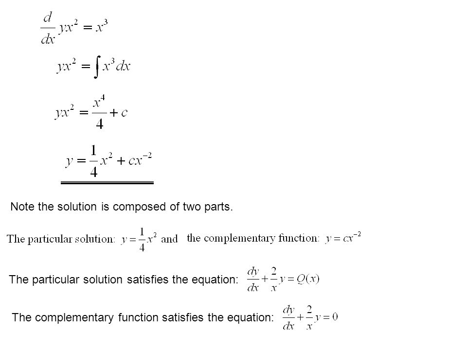 Note the solution is composed of two parts. The particular solution satisfies the equation: The complementary function satisfies the equation: