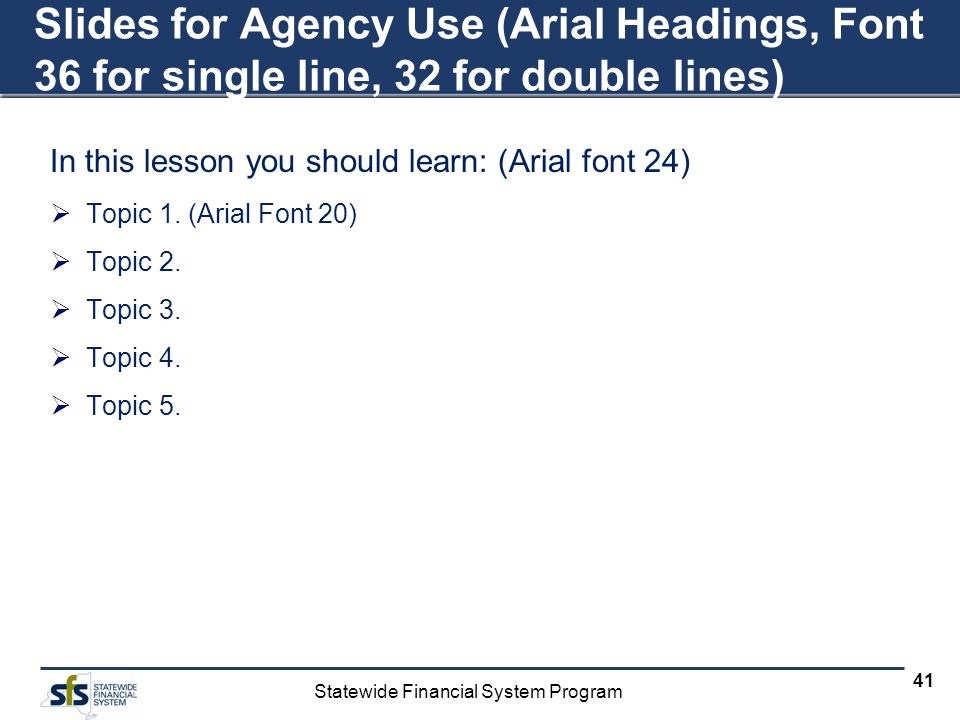 Statewide Financial System Program 41 Slides for Agency Use (Arial Headings, Font 36 for single line, 32 for double lines) In this lesson you should learn: (Arial font 24) Topic 1.