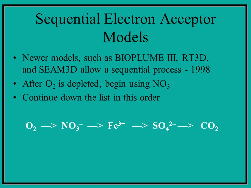 Sequential Electron Acceptor Models Newer models, such as BIOPLUME III, RT3D, and SEAM3D allow a sequential process - 1998 After O 2 is depleted, begin using NO 3 – Continue down the list in this order O 2 ––> NO 3 – ––> Fe 3+ ––> SO 4 2– ––> CO 2