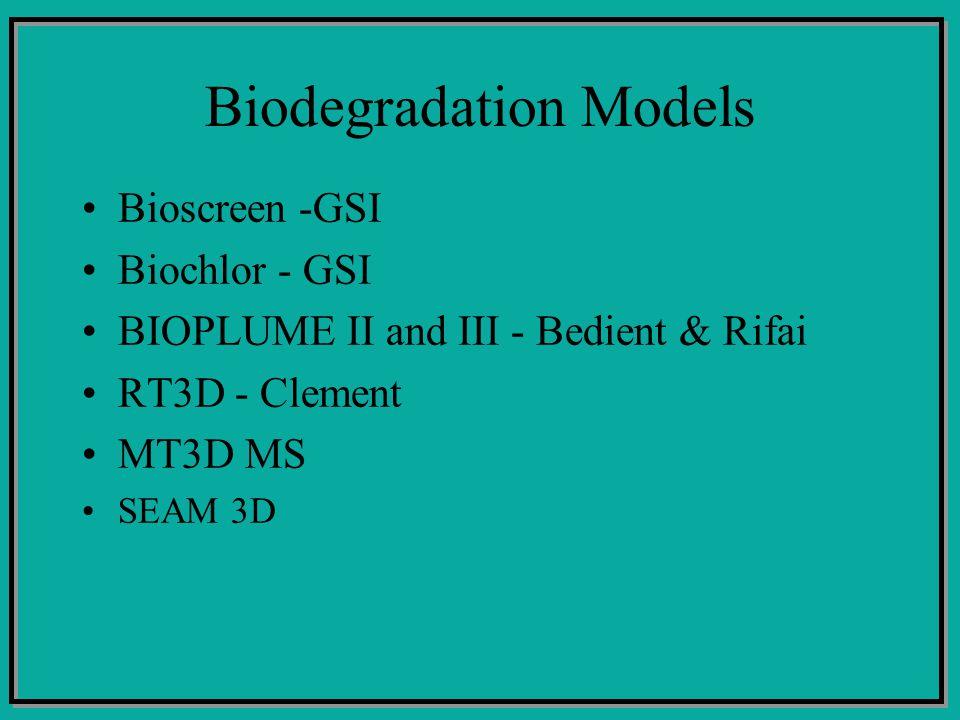 Biodegradation Models Bioscreen -GSI Biochlor - GSI BIOPLUME II and III - Bedient & Rifai RT3D - Clement MT3D MS SEAM 3D