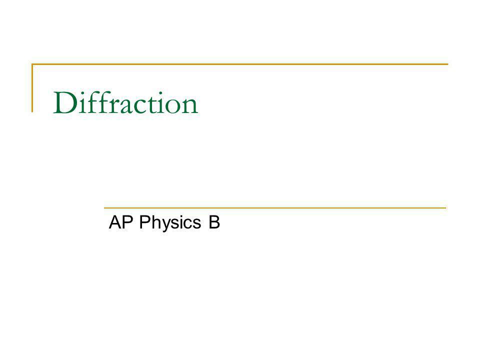 Diffraction AP Physics B