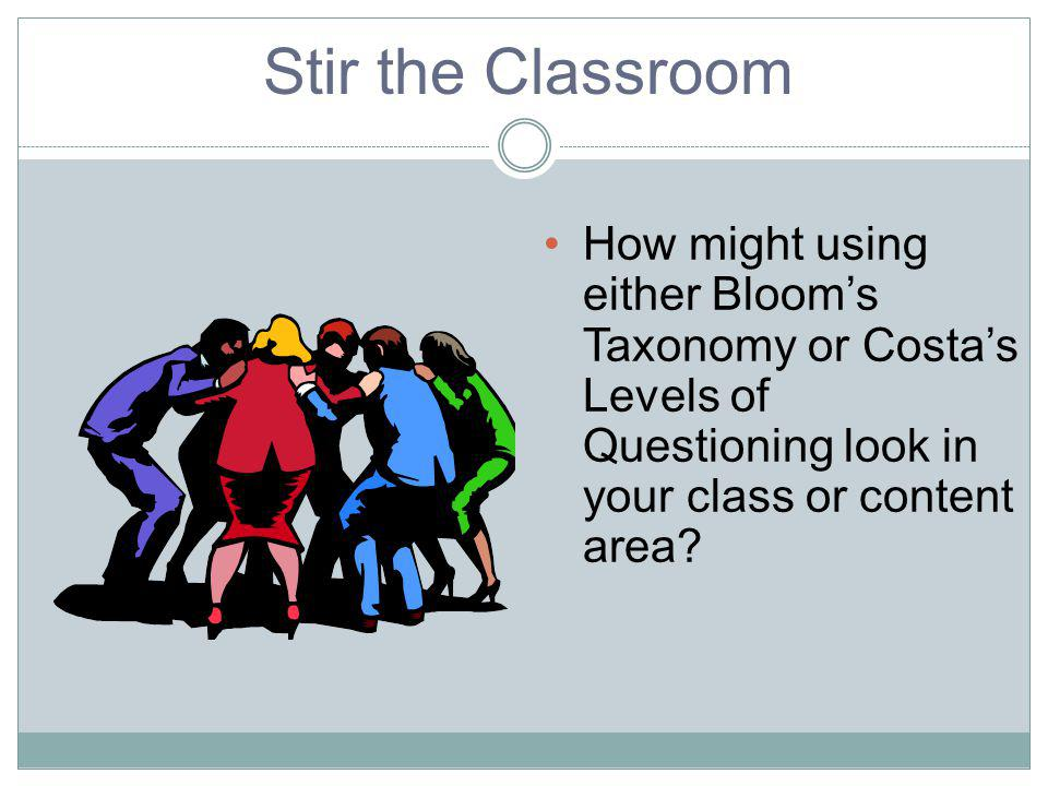 Stir the Classroom How might using either Blooms Taxonomy or Costas Levels of Questioning look in your class or content area