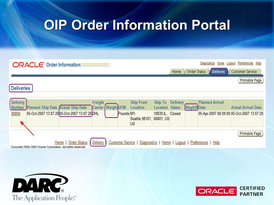 OIP Order Information Portal