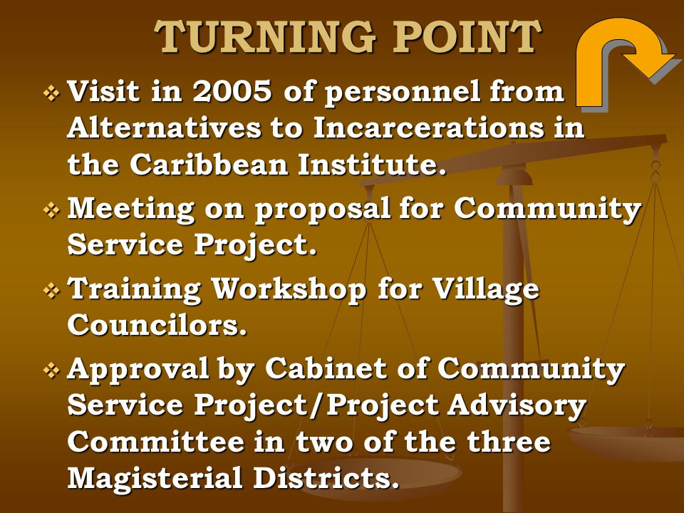 TURNING POINT Visit in 2005 of personnel from Alternatives to Incarcerations in the Caribbean Institute.