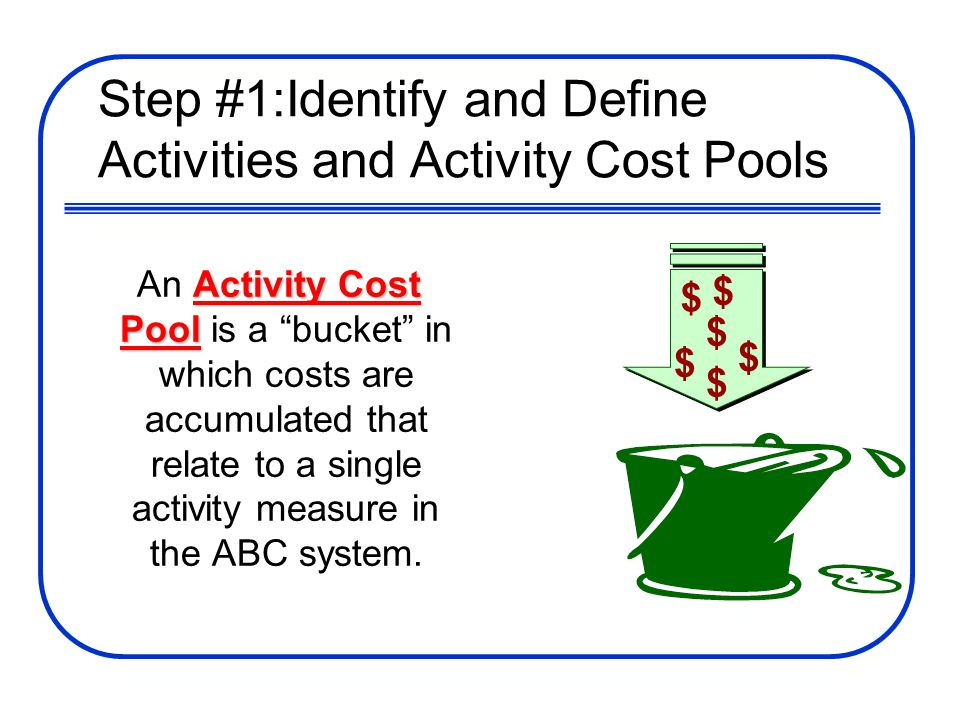 Step #1:Identify and Define Activities and Activity Cost Pools Activity Cost Pool An Activity Cost Pool is a bucket in which costs are accumulated tha