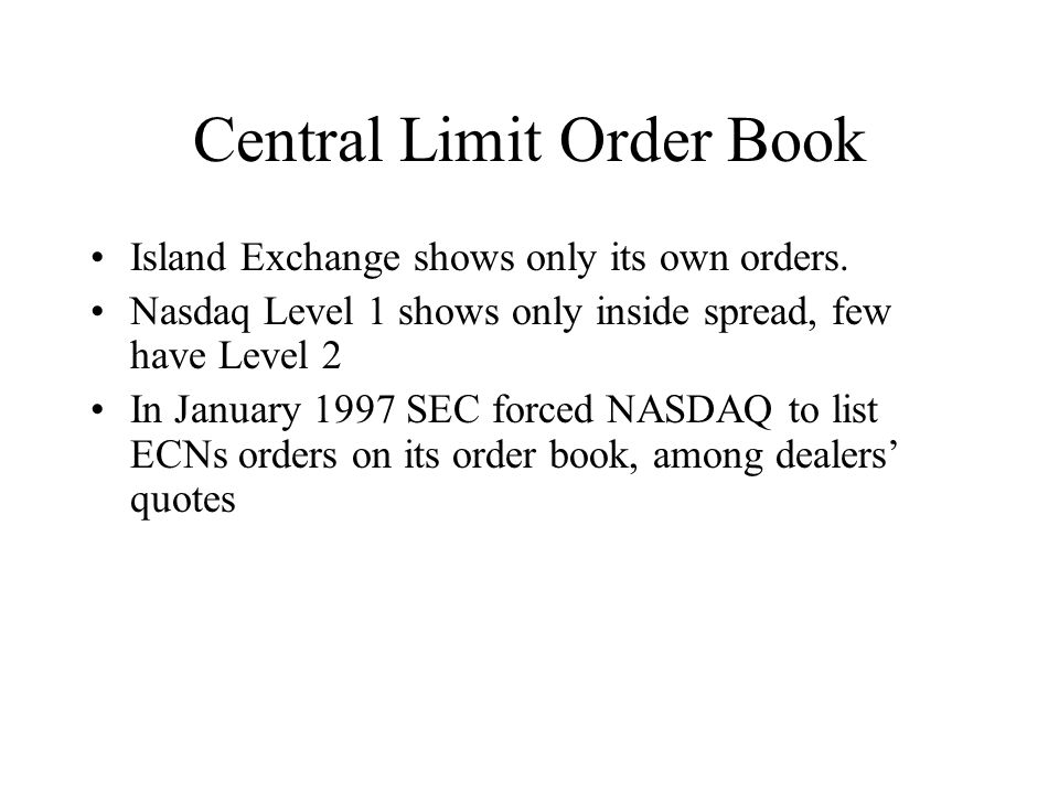 Central Limit Order Book Island Exchange shows only its own orders.