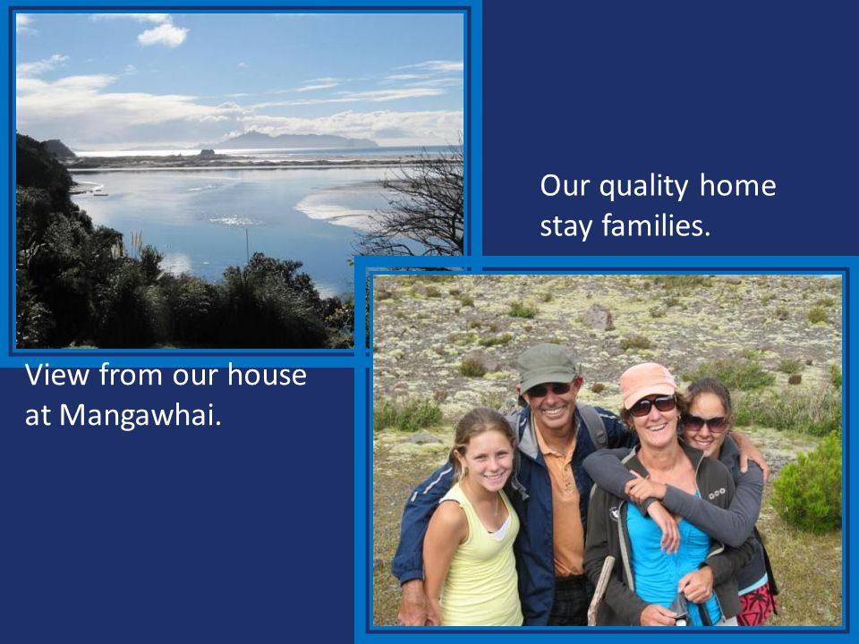 Our quality home stay families. View from our house at Mangawhai.