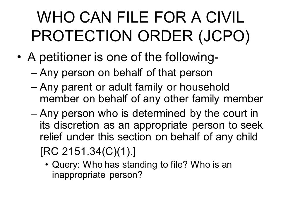 QUERY Can a juvenile file a petition.Yes.