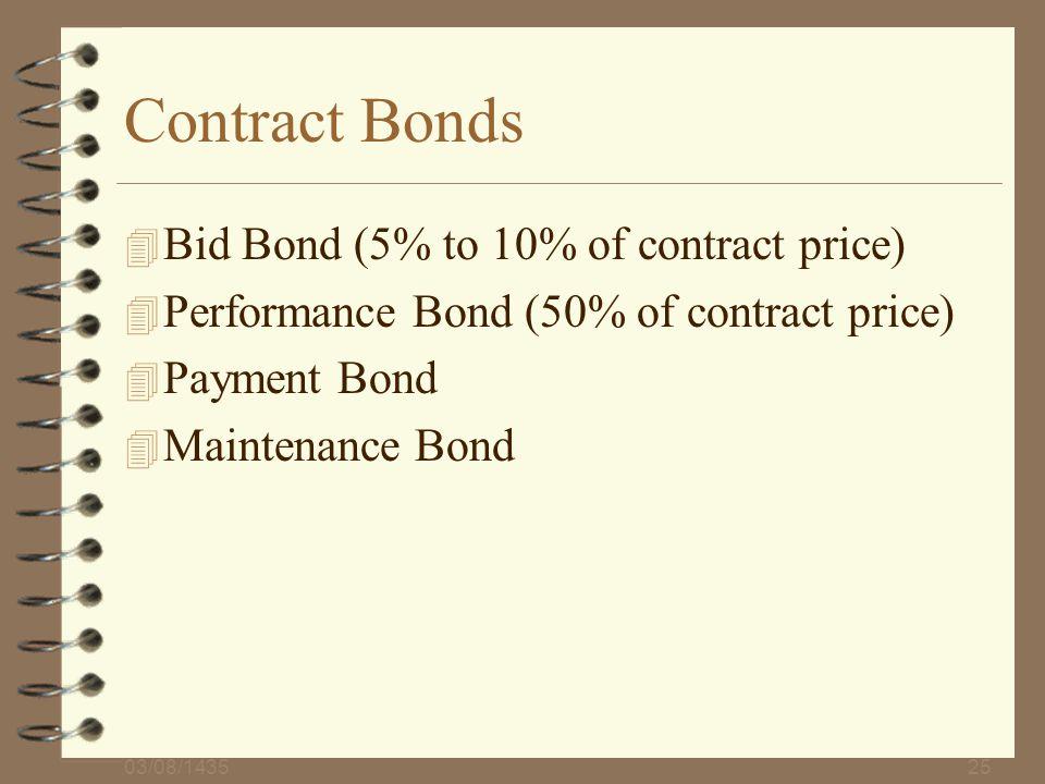 03/08/143525 Contract Bonds 4 Bid Bond (5% to 10% of contract price) 4 Performance Bond (50% of contract price) 4 Payment Bond 4 Maintenance Bond