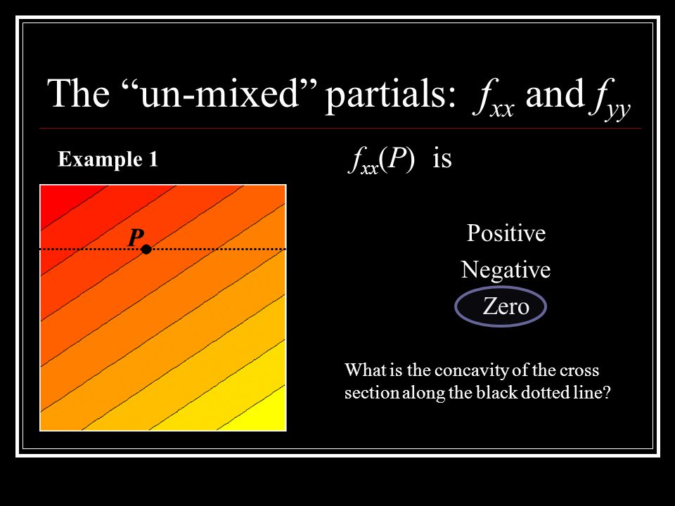 The un-mixed partials: f xx and f yy f xx (P) is Positive Negative Zero Example 1 What is the concavity of the cross section along the black dotted li