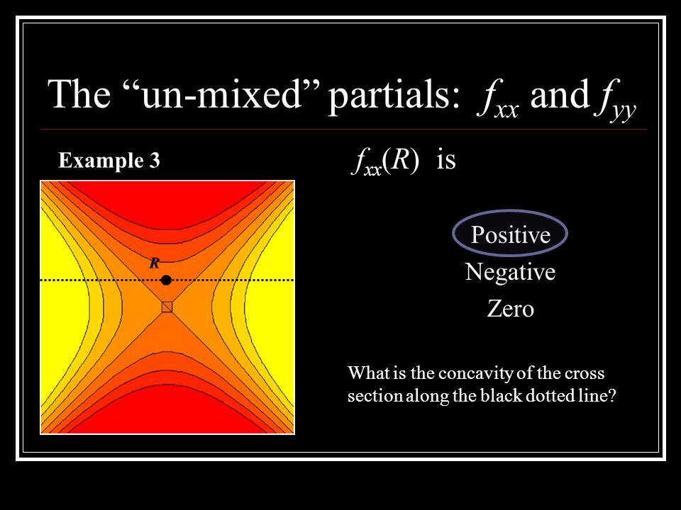 The un-mixed partials: f xx and f yy f xx (R) is Positive Negative Zero Example 3 What is the concavity of the cross section along the black dotted line
