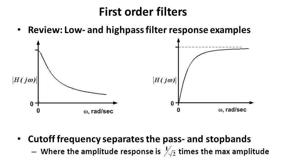 First order filters Review: Low- and highpass filter response examples Cutoff frequency separates the pass- and stopbands – Where the amplitude respon