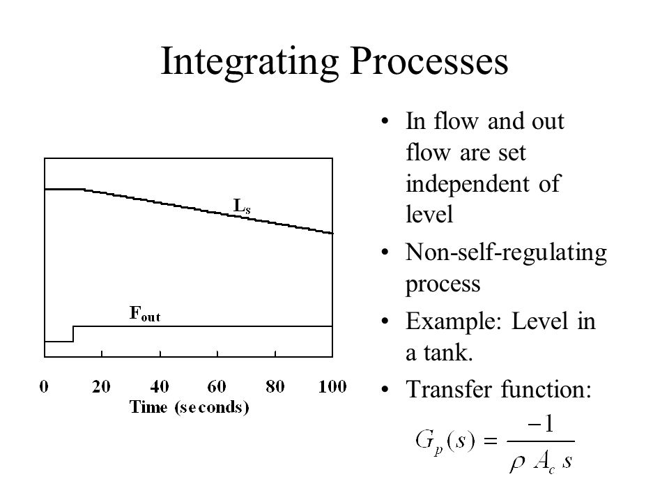 Integrating Processes In flow and out flow are set independent of level Non-self-regulating process Example: Level in a tank. Transfer function: