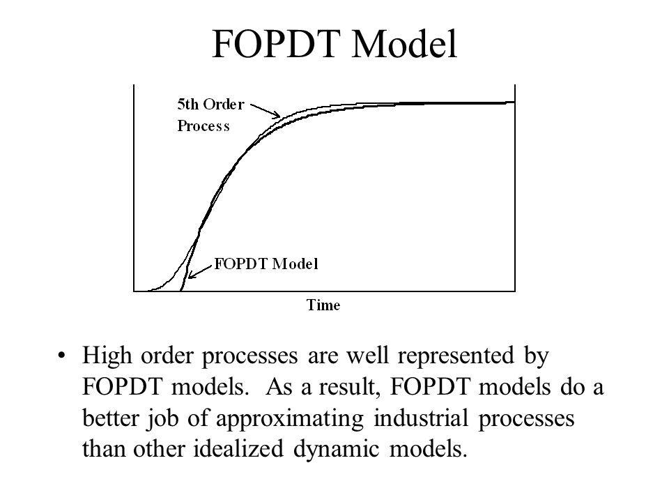 FOPDT Model High order processes are well represented by FOPDT models. As a result, FOPDT models do a better job of approximating industrial processes