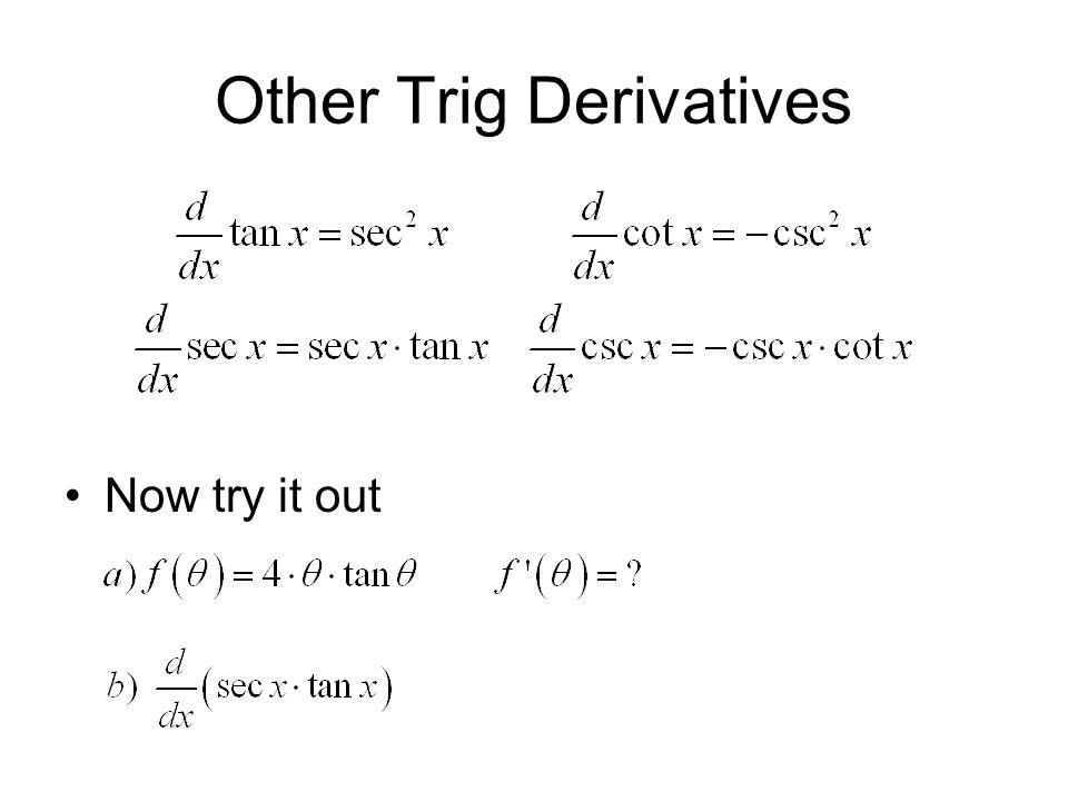 Other Trig Derivatives Now try it out