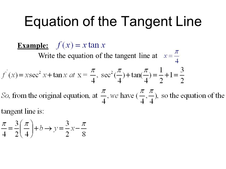 Example: Write the equation of the tangent line at Equation of the Tangent Line