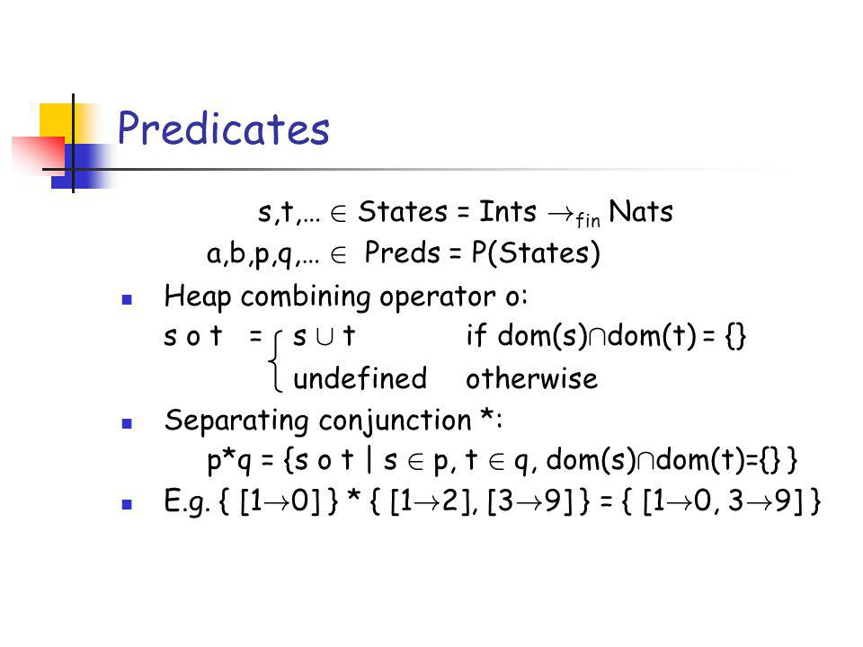 Predicates s,t,… 2 States = Ints ! fin Nats a,b,p,q,… 2 Preds = P(States) Heap combining operator o: s o t = s [ tif dom(s) Å dom(t) = {} undefined ot