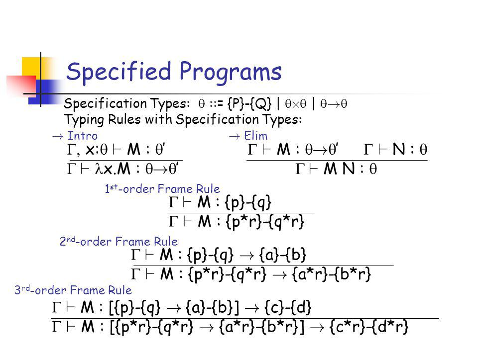 Specified Programs Specification Types: ::= {P}-{Q} | £ | .