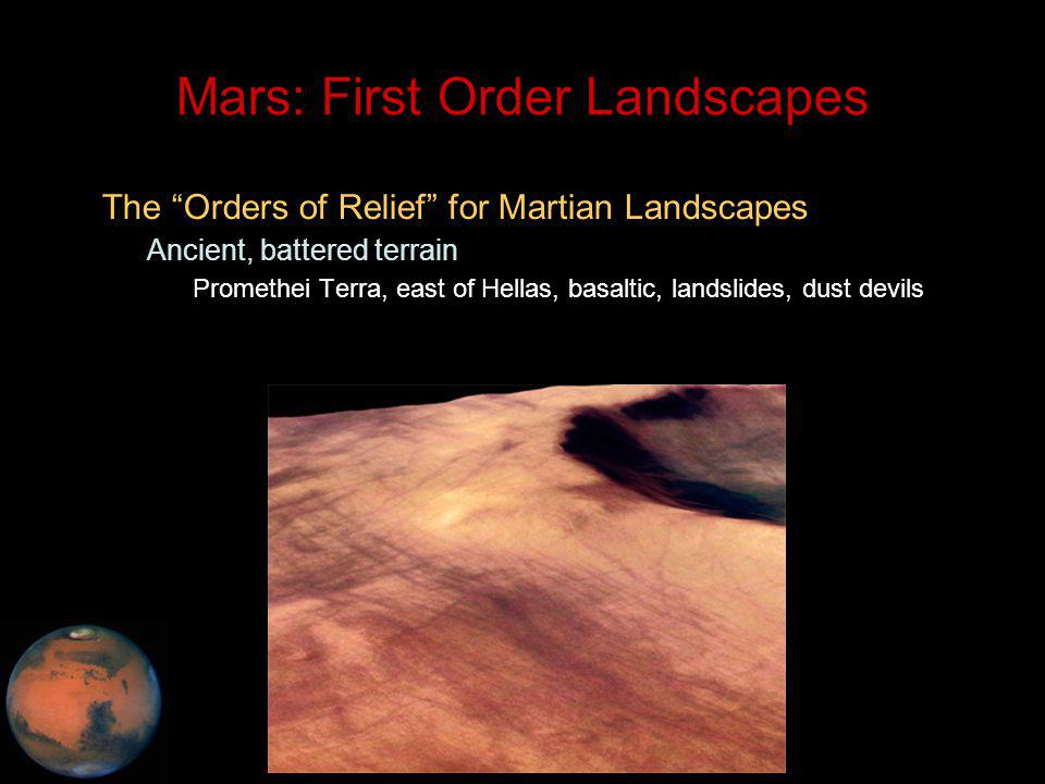 C.M. Rodrigue, 2014 Geography, CSULB Mars: First Order Landscapes The Orders of Relief for Martian Landscapes – Ancient, battered terrain Promethei Te