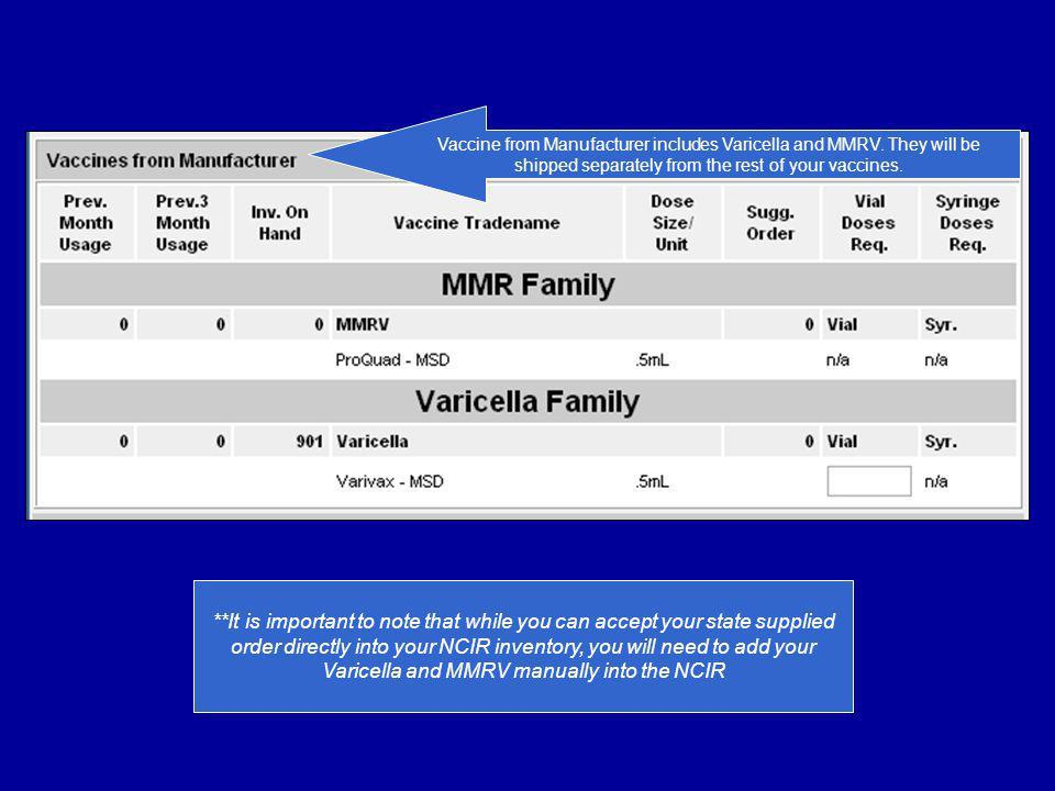 Vaccine from Manufacturer includes Varicella and MMRV. They will be shipped separately from the rest of your vaccines. **It is important to note that