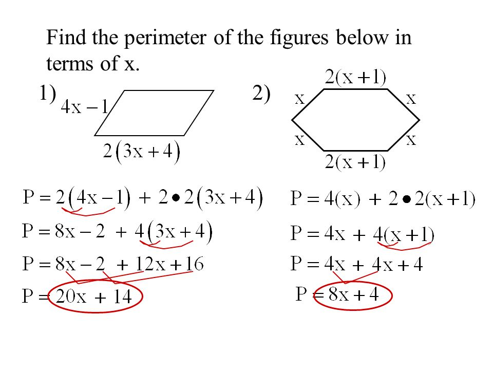 Find the perimeter of the figures below in terms of x. 1)2)