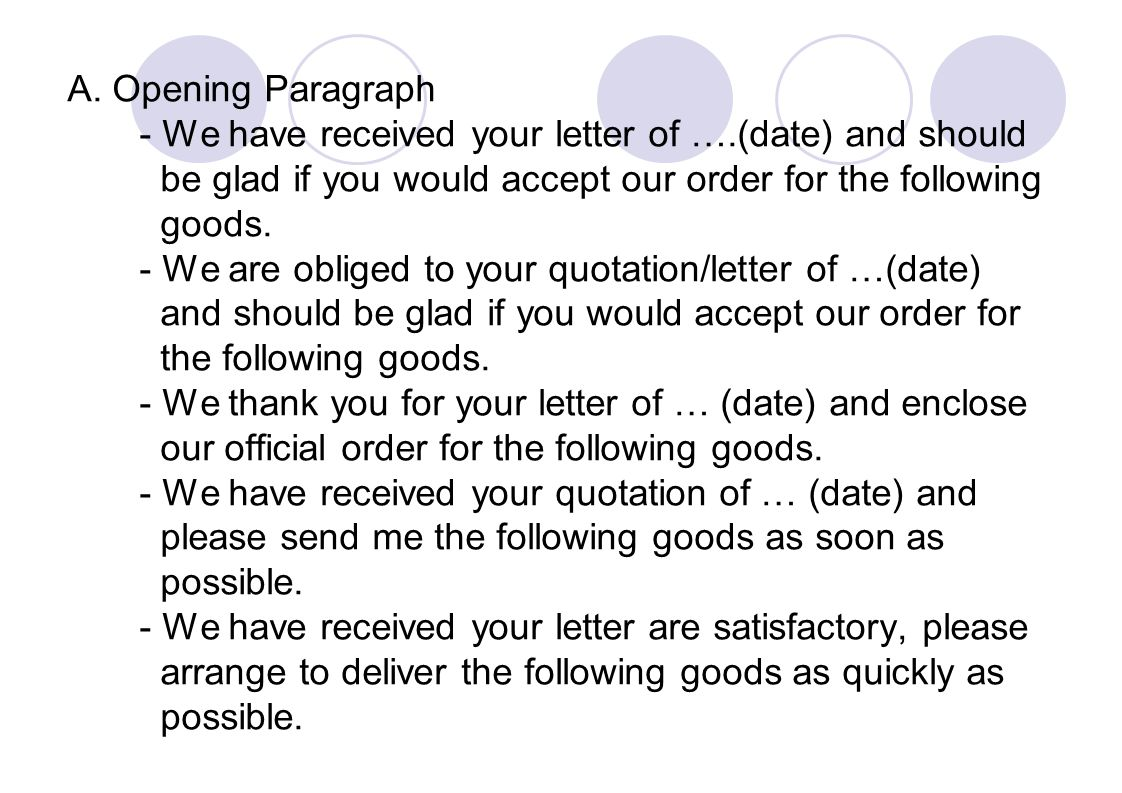 A. Opening Paragraph - We have received your letter of ….(date) and should be glad if you would accept our order for the following goods. - We are obl
