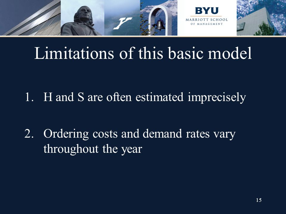 15 Limitations of this basic model 1.H and S are often estimated imprecisely 2.Ordering costs and demand rates vary throughout the year