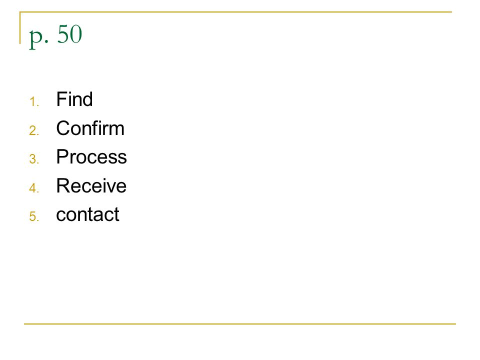 p. 50 1. Find 2. Confirm 3. Process 4. Receive 5. contact