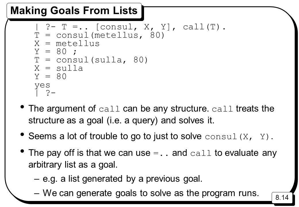 8.14 Making Goals From Lists | ?- T =.. [consul, X, Y], call(T). T = consul(metellus, 80) X = metellus Y = 80 ; T = consul(sulla, 80) X = sulla Y = 80