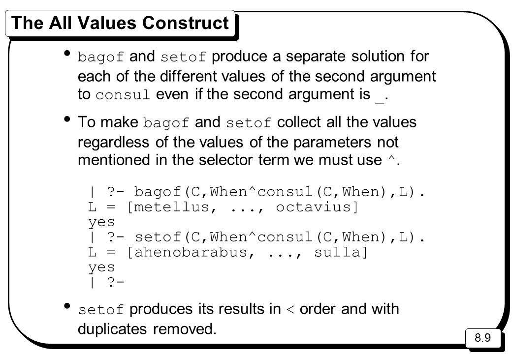 8.9 The All Values Construct bagof and setof produce a separate solution for each of the different values of the second argument to consul even if the second argument is _.