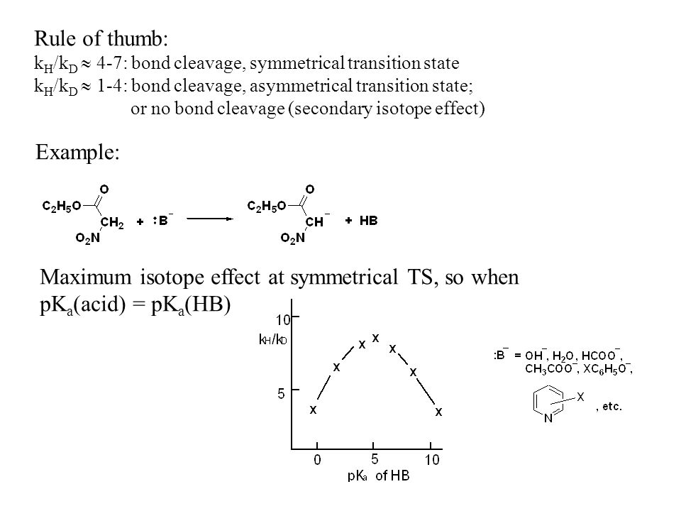 Rule of thumb: k H /k D 4-7: bond cleavage, symmetrical transition state k H /k D 1-4: bond cleavage, asymmetrical transition state; or no bond cleavage (secondary isotope effect) Example: Maximum isotope effect at symmetrical TS, so when pK a (acid) = pK a (HB)