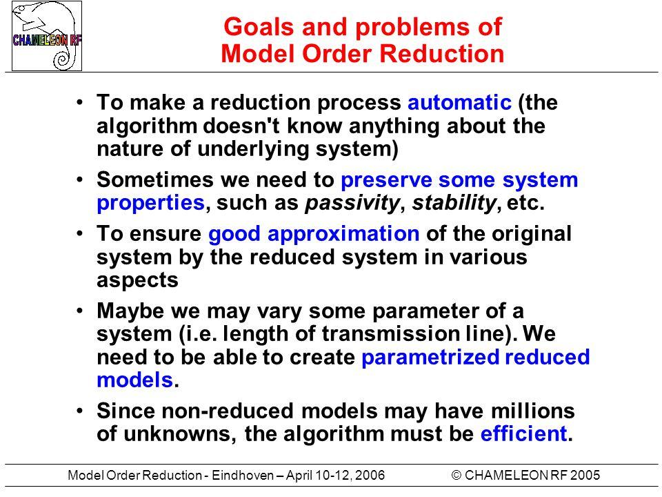 © CHAMELEON RF 2005Model Order Reduction - Eindhoven – April 10-12, 2006 Synonyms Model Order Reduction Reduced Order Modelling Behavioral Modelling Dimension Reduction of Large- Scale Systems ……………