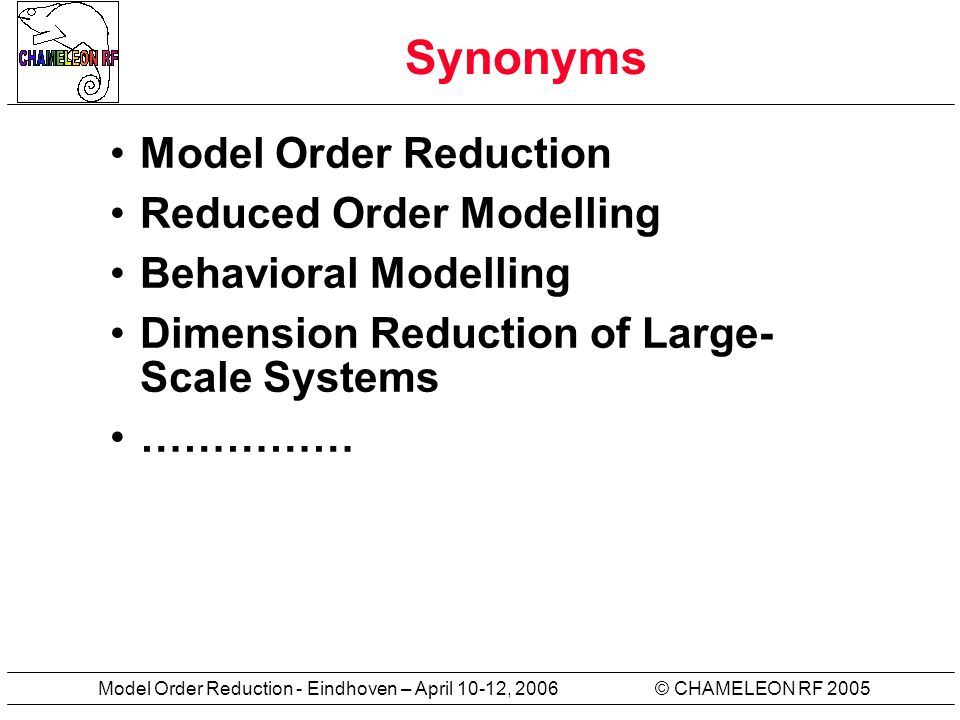 © CHAMELEON RF 2005Model Order Reduction - Eindhoven – April 10-12, 2006 Synonyms Model Order Reduction Reduced Order Modelling Behavioral Modelling Dimension Reduction of Large- Scale Systems ……………