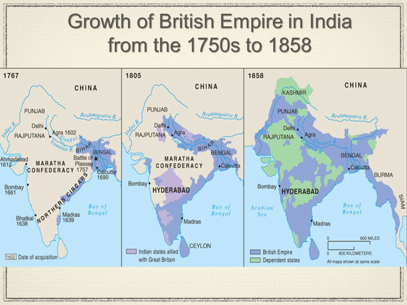 Growth of British Empire in India from the 1750s to 1858