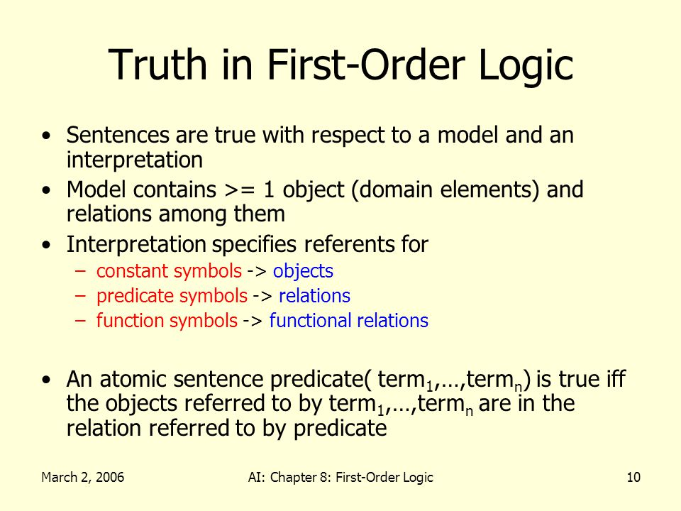 March 2, 2006AI: Chapter 8: First-Order Logic10 Truth in First-Order Logic Sentences are true with respect to a model and an interpretation Model cont