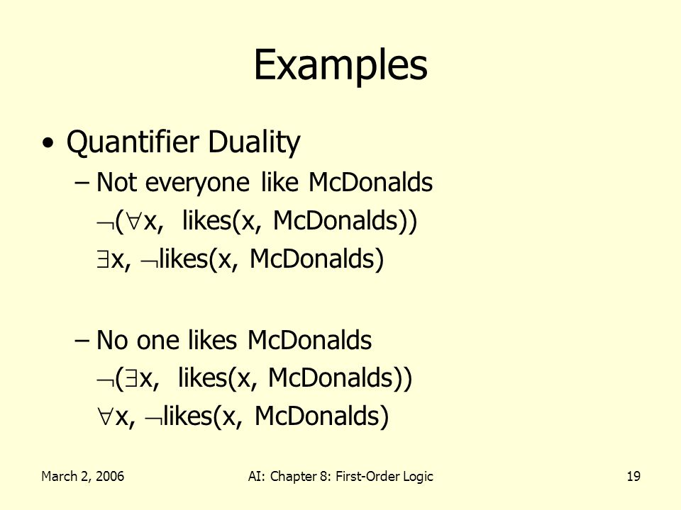 March 2, 2006AI: Chapter 8: First-Order Logic19 Examples Quantifier Duality –Not everyone like McDonalds ( x, likes(x, McDonalds)) x, likes(x, McDonalds) –No one likes McDonalds ( x, likes(x, McDonalds)) x, likes(x, McDonalds)