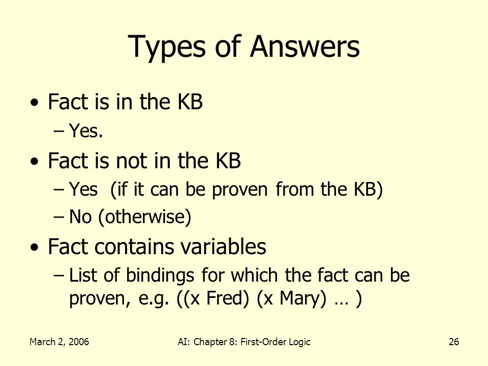 March 2, 2006AI: Chapter 8: First-Order Logic26 Types of Answers Fact is in the KB –Yes. Fact is not in the KB –Yes (if it can be proven from the KB)