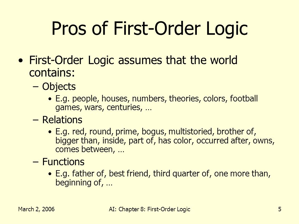 March 2, 2006AI: Chapter 8: First-Order Logic36 Describing Actions Qualification Problem: –True descriptions of real actions require endless caveats… What if the gold is slippery or nailed down or… Ramification Problem: –Real actions have many secondary consequences… What about the dust on the gold, wear and tear on gloves,…