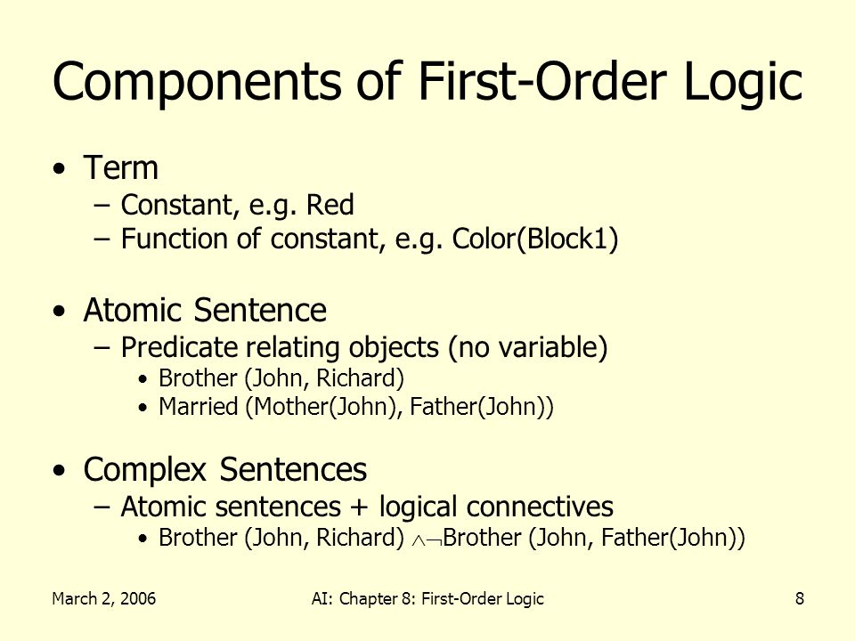 March 2, 2006AI: Chapter 8: First-Order Logic8 Components of First-Order Logic Term –Constant, e.g. Red –Function of constant, e.g. Color(Block1) Atom