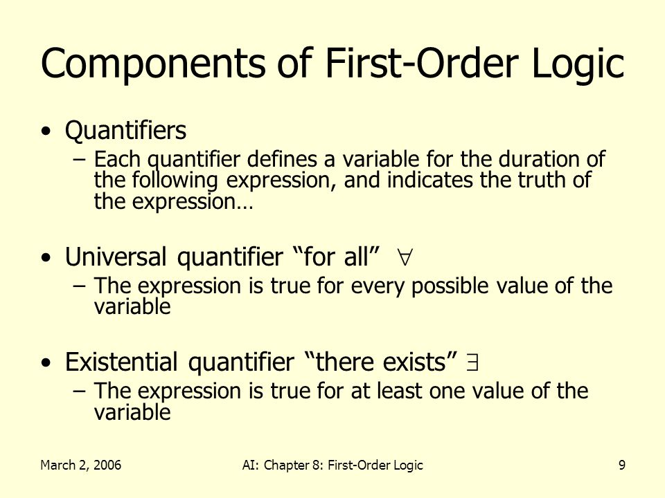 March 2, 2006AI: Chapter 8: First-Order Logic40 Making Plans Definition of PlanResult in terms of Result: – s PlanResult([], s) = s – a,p,s PlanResult([a|p],s) = PlanResult(p, Result(a,s)) Planning systems are special-purpose reasoners designed to do this type of inference more efficiently than a general purpose reasoner