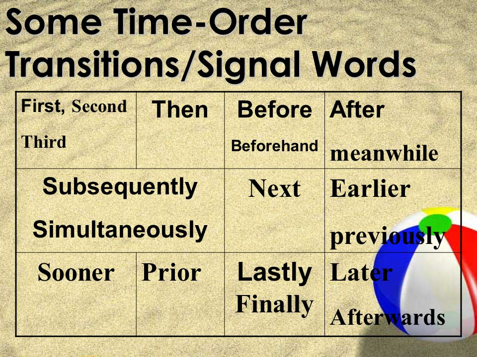 Time Order Signal Words Write down the time order signal words and phrases that are on the next two pages: