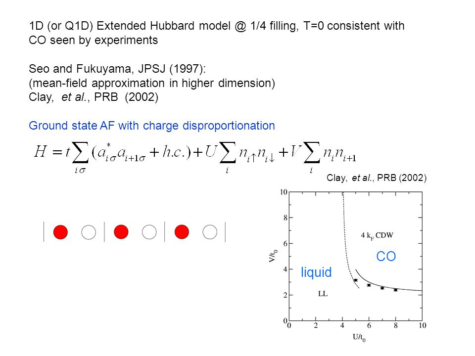 1D (or Q1D) Extended Hubbard model @ 1/4 filling, T=0 consistent with CO seen by experiments Seo and Fukuyama, JPSJ (1997): (mean-field approximation