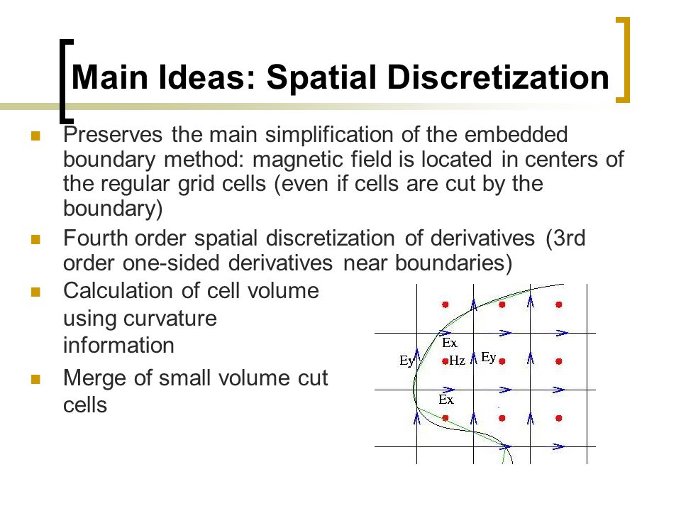 Main Ideas: Spatial Discretization Preserves the main simplification of the embedded boundary method: magnetic field is located in centers of the regu