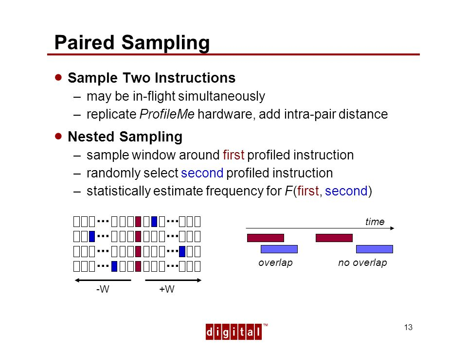 TM 13 Paired Sampling Sample Two Instructions –may be in-flight simultaneously –replicate ProfileMe hardware, add intra-pair distance Nested Sampling –sample window around first profiled instruction –randomly select second profiled instruction –statistically estimate frequency for F(first, second) +W...