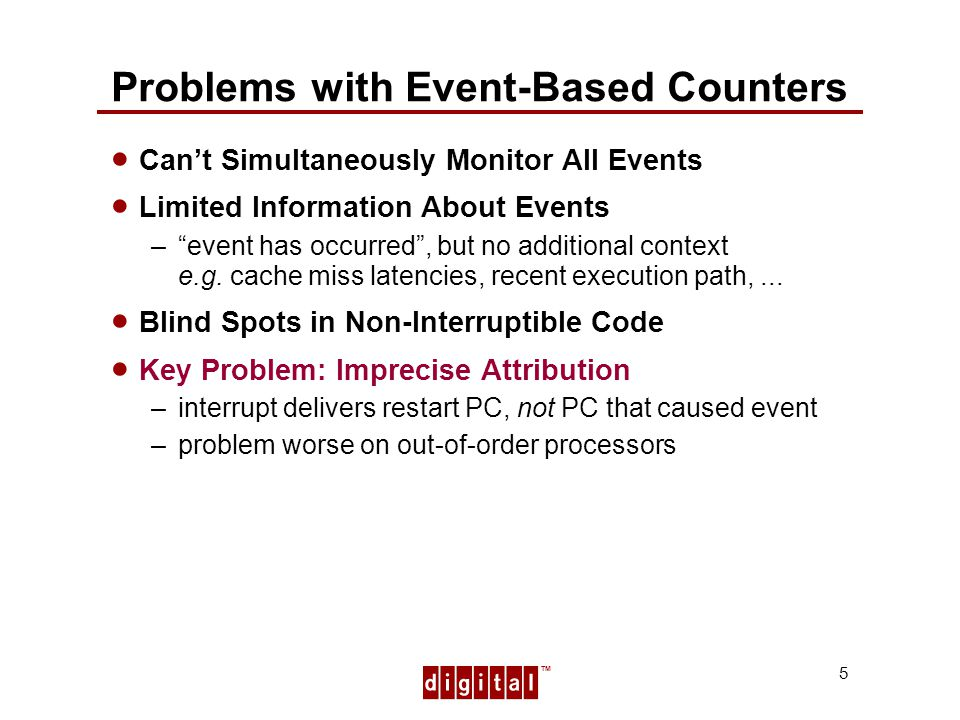 TM 5 Problems with Event-Based Counters Cant Simultaneously Monitor All Events Limited Information About Events –event has occurred, but no additional