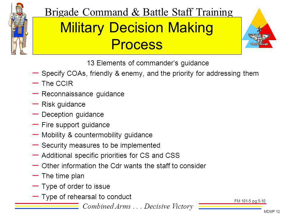 Brigade Command & Battle Staff Training Combined Arms... Decisive Victory MDMP 12 Military Decision Making Process 13 Elements of commanders guidance